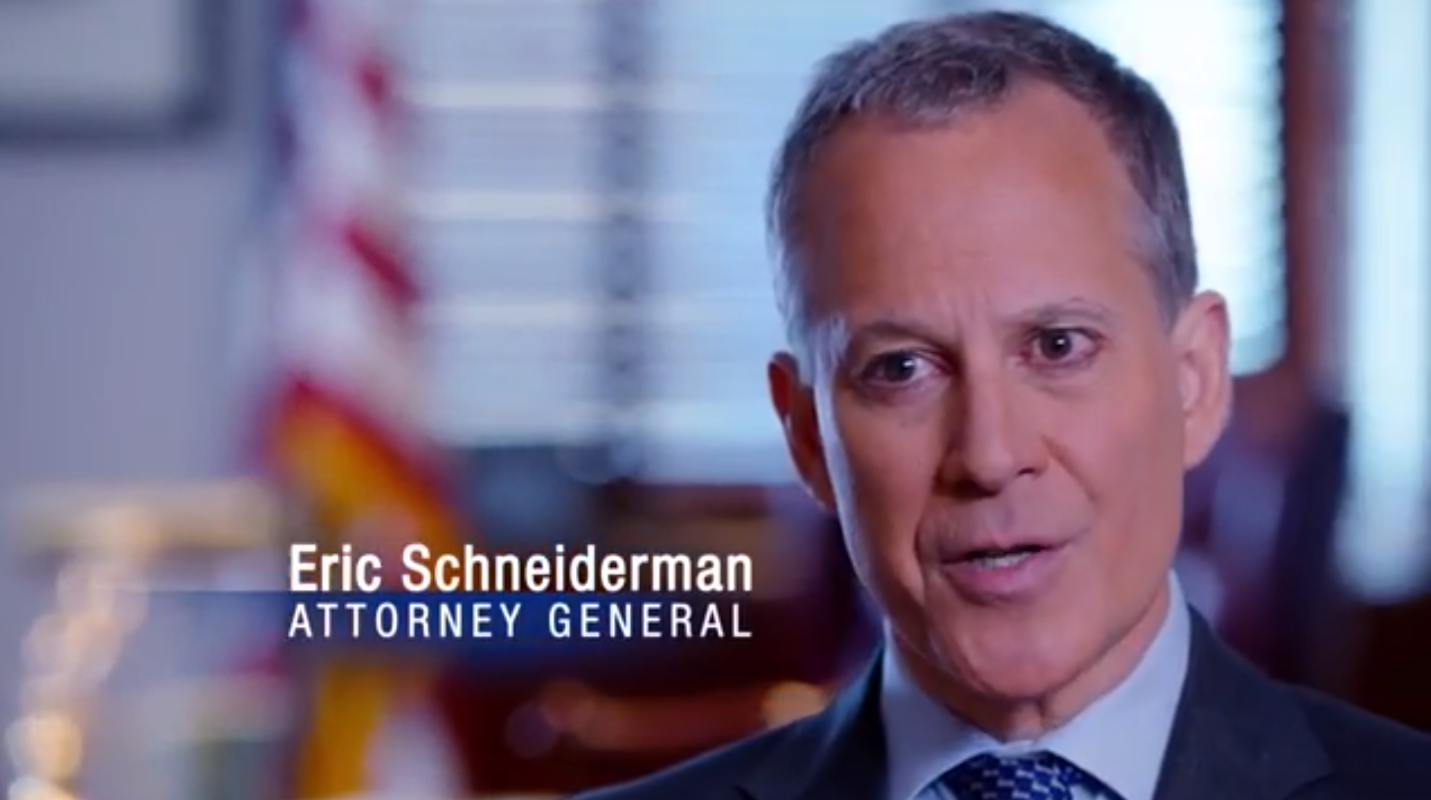 State Attorney General  Eric Schneiderman  (D-New York) is the highest-ranking State prosecutor. Source : Schneiderman 2014/Campaign Commercial/YouTube (Screen Shot)/Fair Use