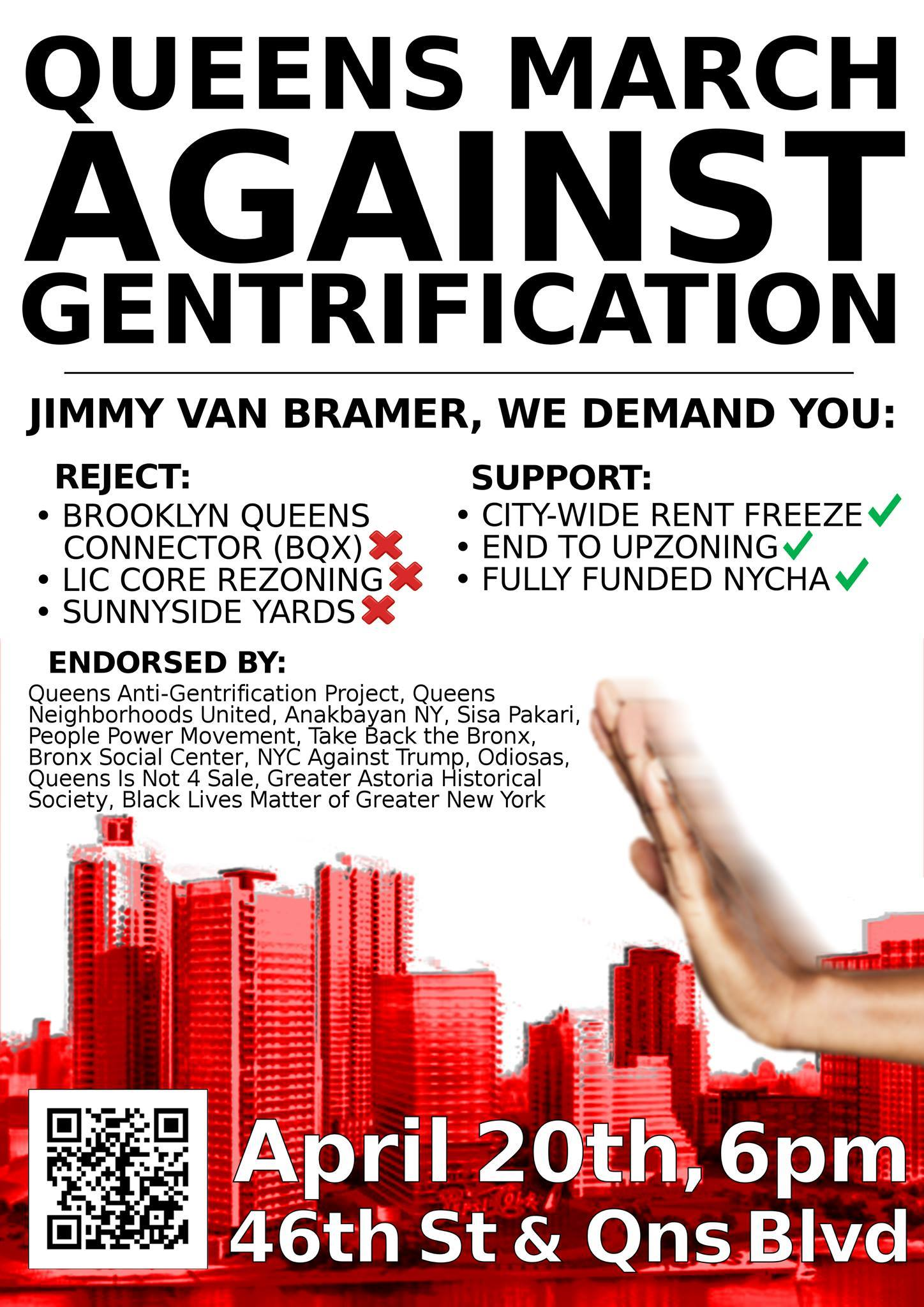 An advertisement for next week's protest march being organised by grassroots activists. Source : Queens Anti-Gentrification Project/Fair Use