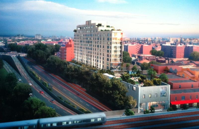 Una ilustración de un proyecto inmobiliario propuesto en Jackson Heights. Roosevelt 5 LLC/Uso Justo