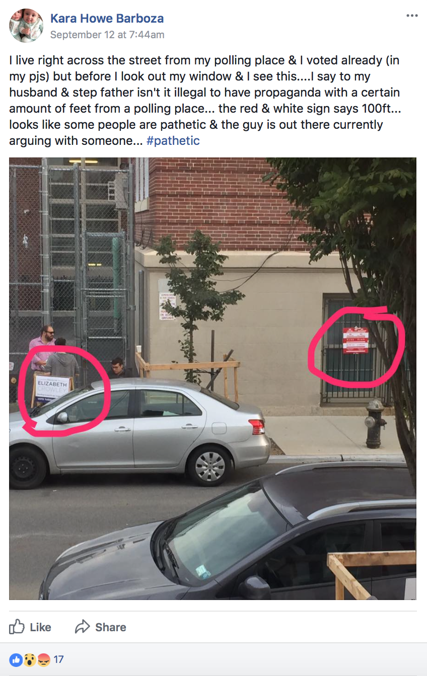 A member of the Maspeth 11378 public group on Facebook posted  a photograph  showing a campaign worker or volunteer for Councilmember  Elizabeth Crowley 's committee to reëlect apparently doing what was described as voter outreach on the day of the primary election a mere few yards away from a sign that notified political operatives that all electioneering work had to be done 100 feet from the sign's posting. Source :  Kara Howe Barboza / Maspeth 11372 / Facebook (Fair Use)