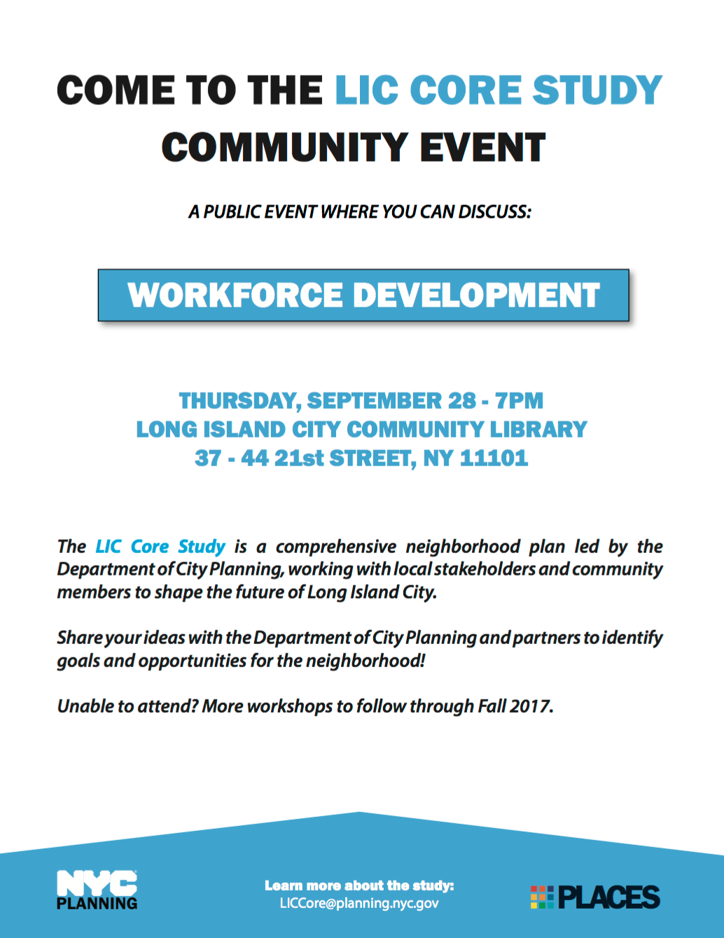 A flyer published by the de Blasio administration that promises jobs creation -- without making any commitments -- in connection with the neighborhood rezoning of Long Island City. Source : Department of City Planning/Public Domain