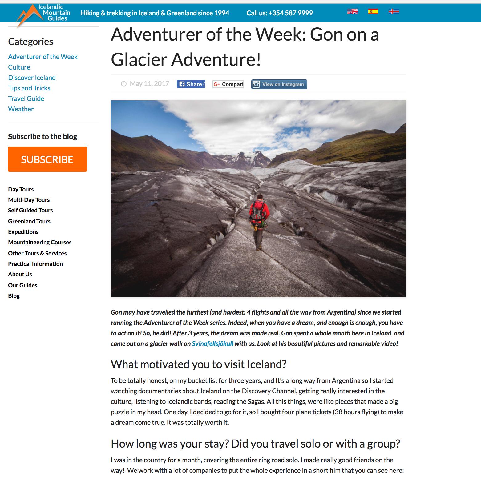 Entrevista Para ICELANDIC MOUNTAIN GUIDES - COMPAÑIA DE TURISMO DE MONTAÑA EN ISLANDIA