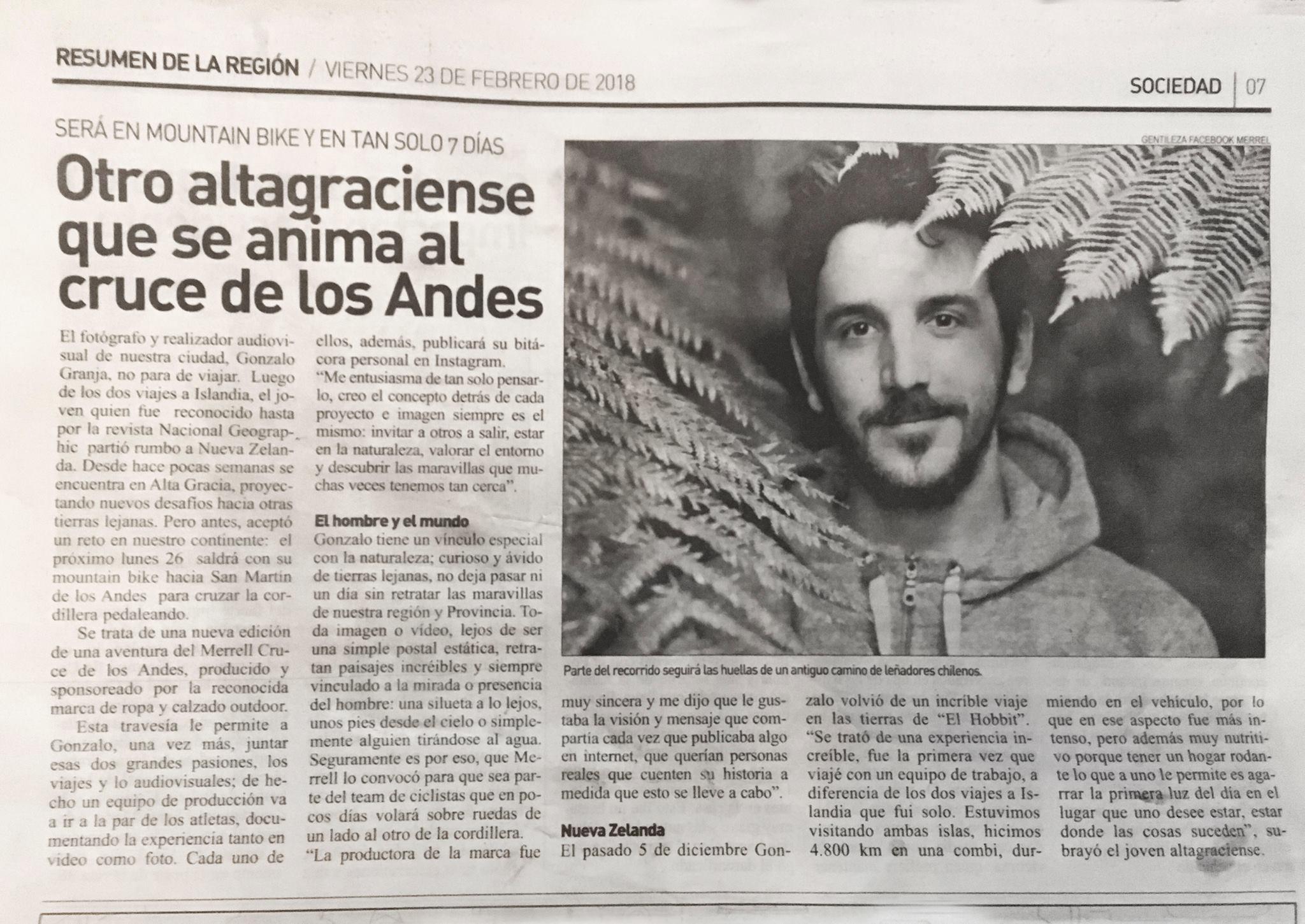 Nota por el Cruce de los Andes en Bicicleta - DIARIO RESUMEN DE LA REGIÓN