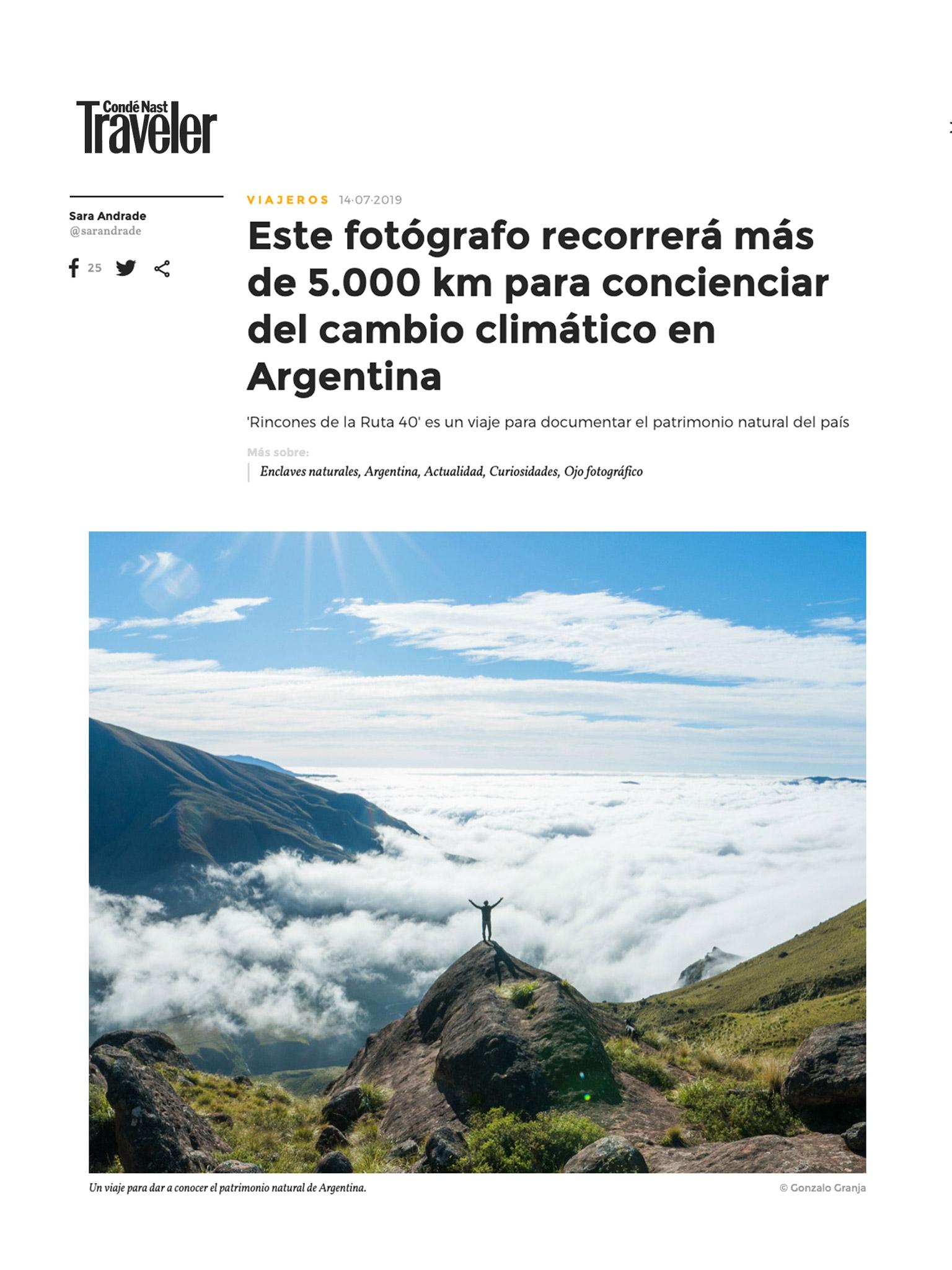 """Nota en Conde Nast Traveler sobre """"Rincones de la Ruta 40"""" - REVISTA ESPAÑOLA ESPECIALIZADA EN VIAJES"""