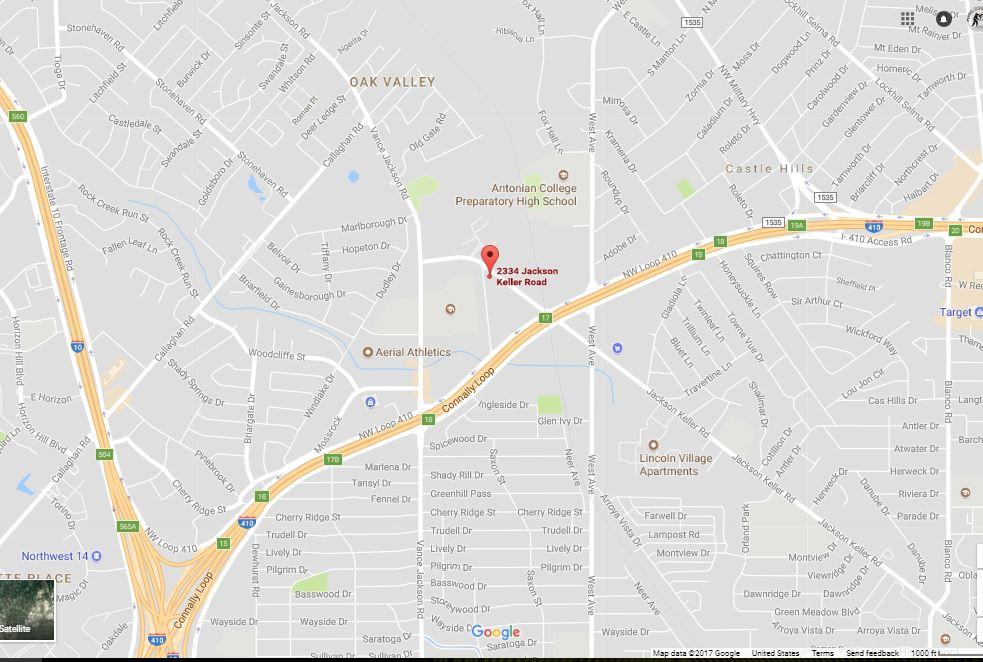 Address:  2334 Jackson Keller Rd  San Antonio, TX 78230    Phone: 210-549-7843