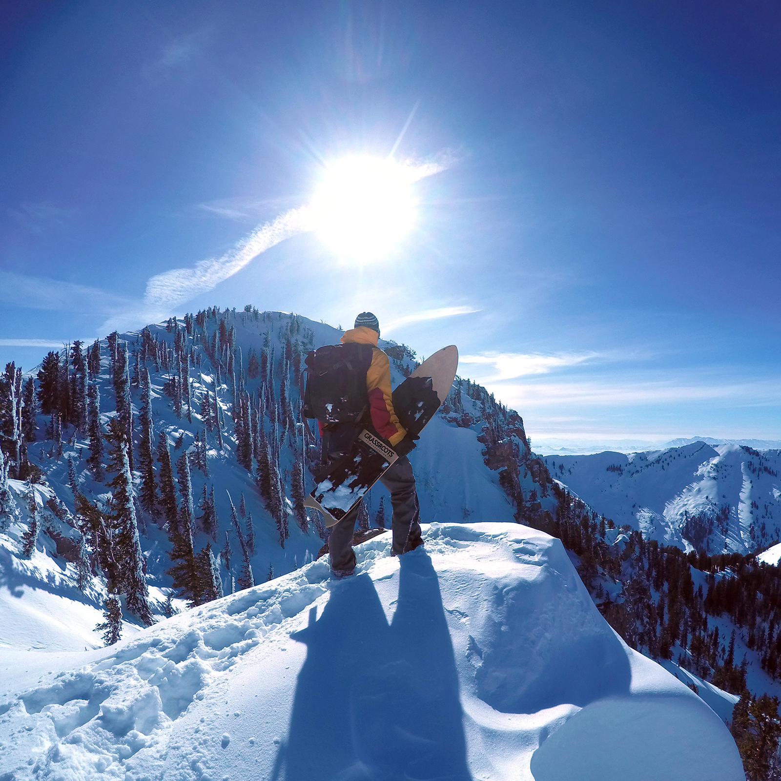 Jeremy Jensen surfs mountains. Wasatch backcountry, 2015