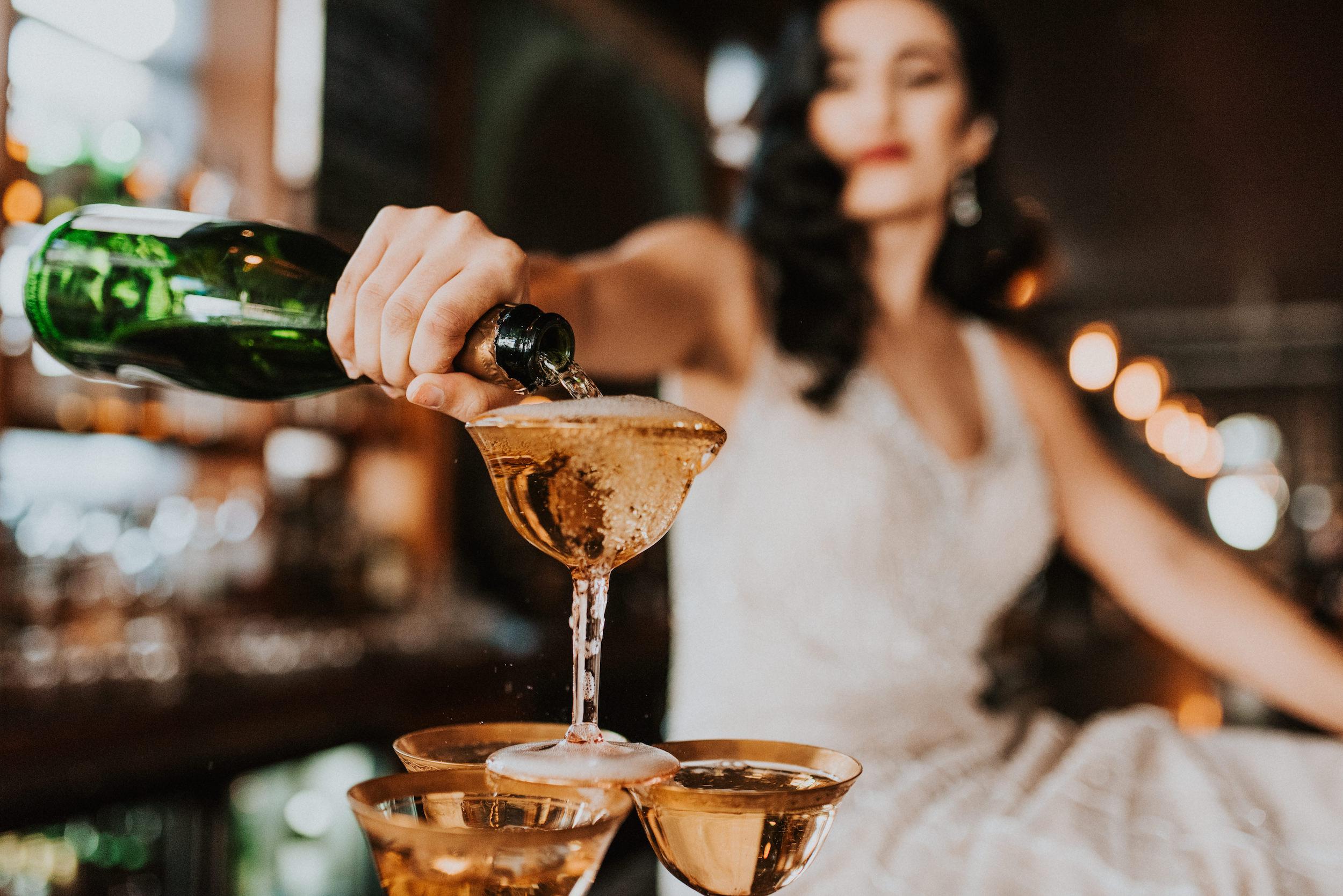 Champaign toasts wedding celebration