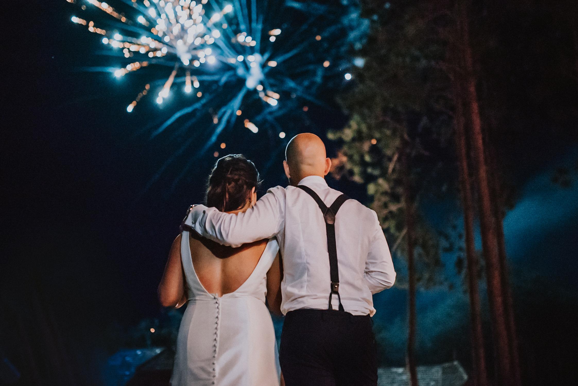 Bride and groom fireworks celebration