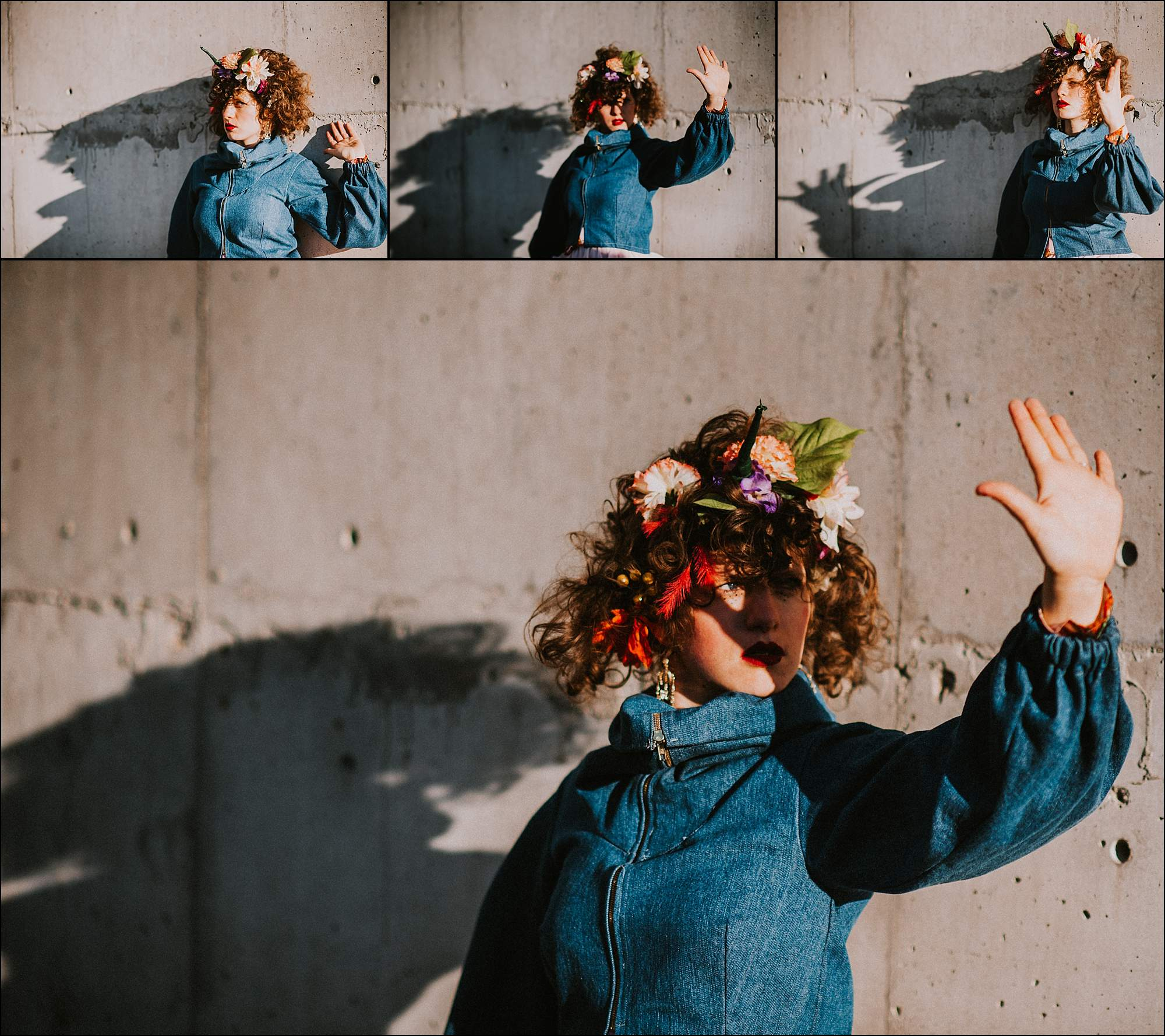 Creative-portrait-flower crown-shadowplay