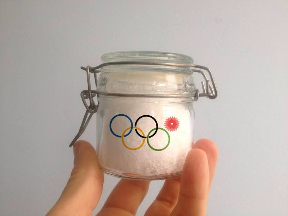 Golden Snow of Sochi (2014) glass jar, authentic Olympic Snow from Sochi Winter Olympics, 100gr / edition of 98
