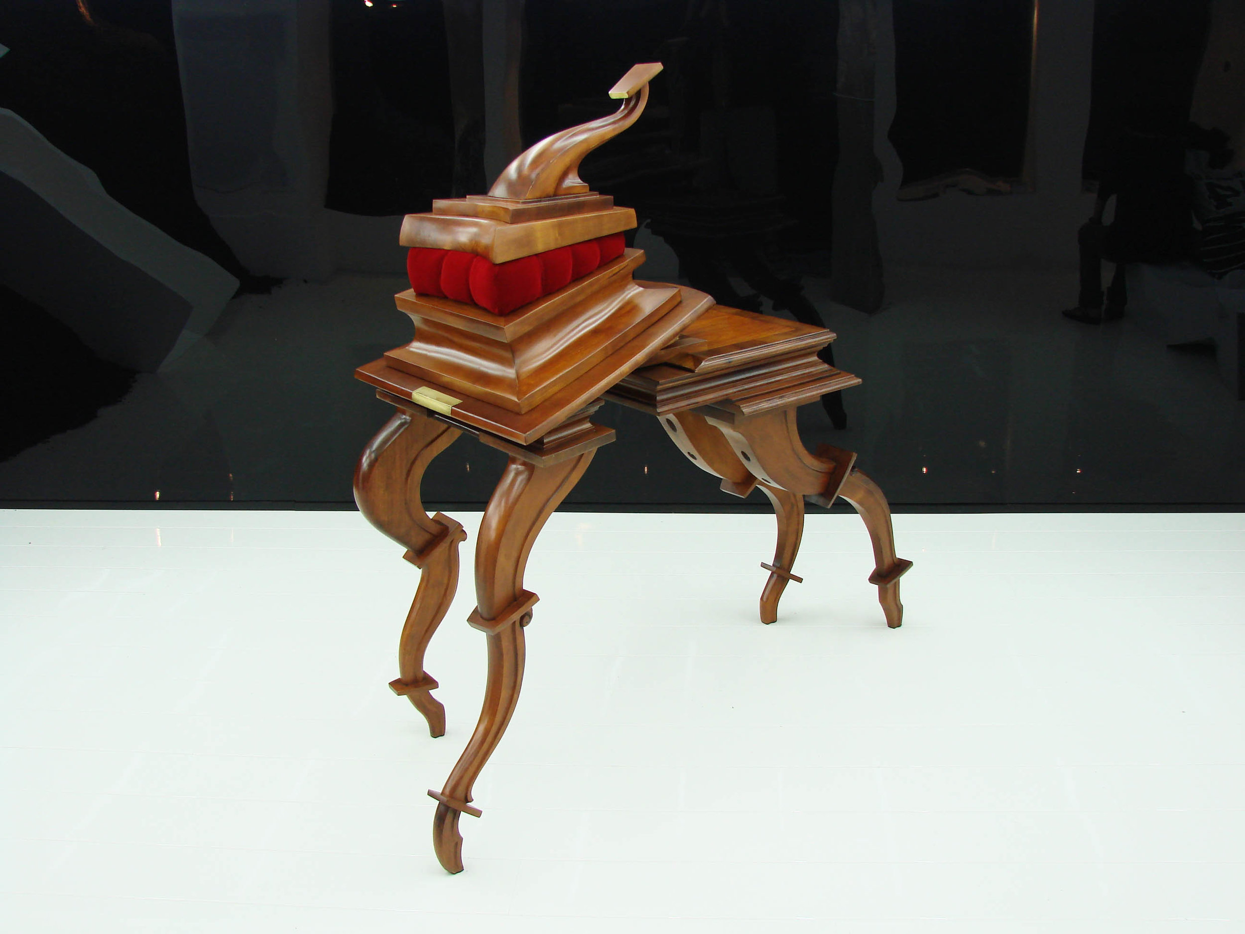 SUPERBIA (2010) clay, wild cherry wood, velvet, bronze, earth