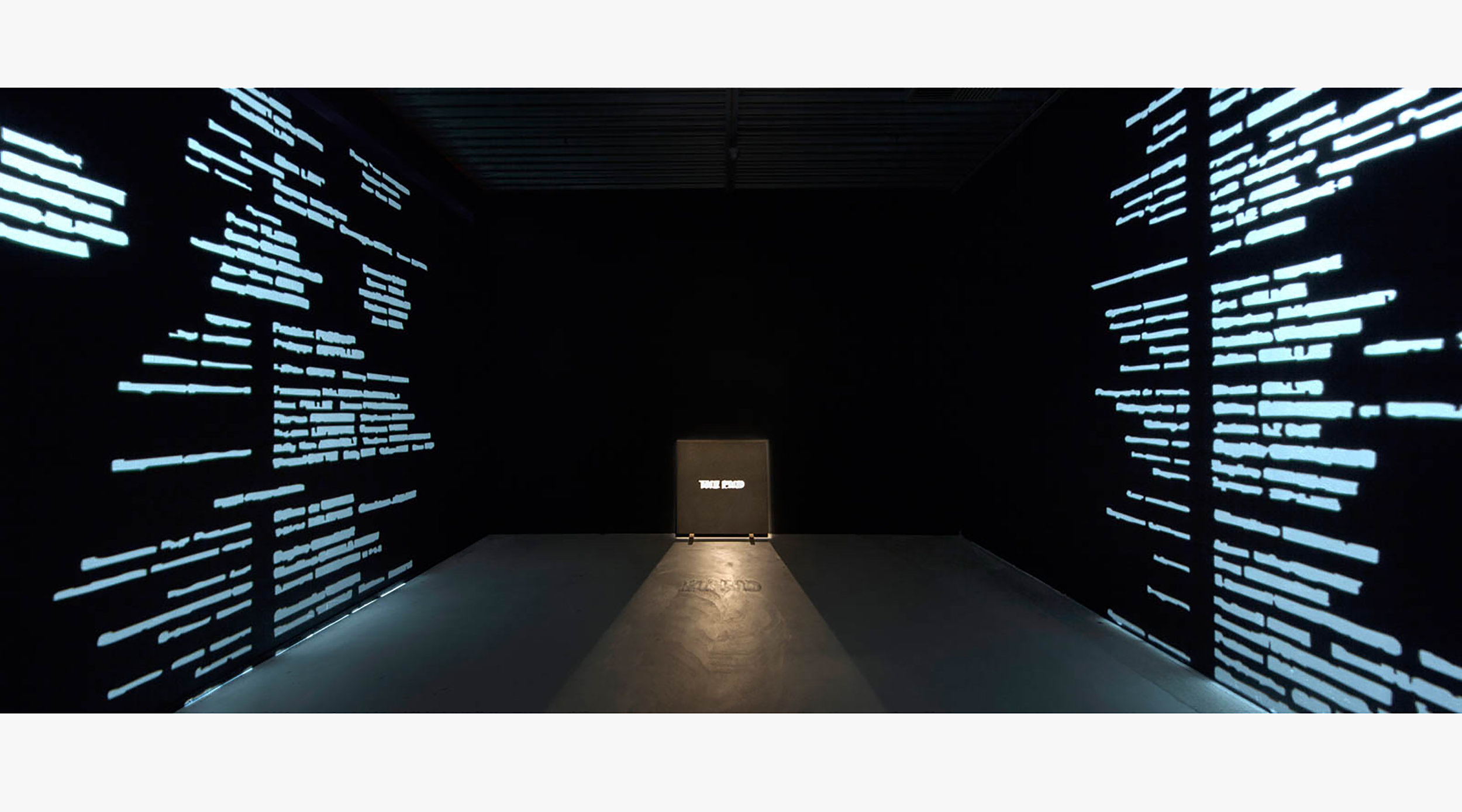 THE END [JUST HAPPENED] (2010-2013) video installation, loop, sound, 100x100x2cm black granite tile, paint