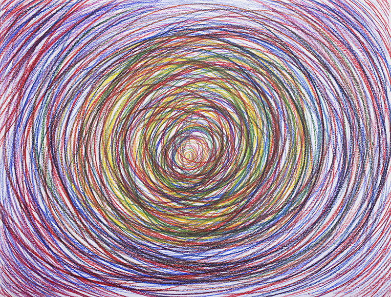 ACTION DRAWING; CIRCLES #012 (2017) drawing, wax pencils on paper, 50 x 70 cm