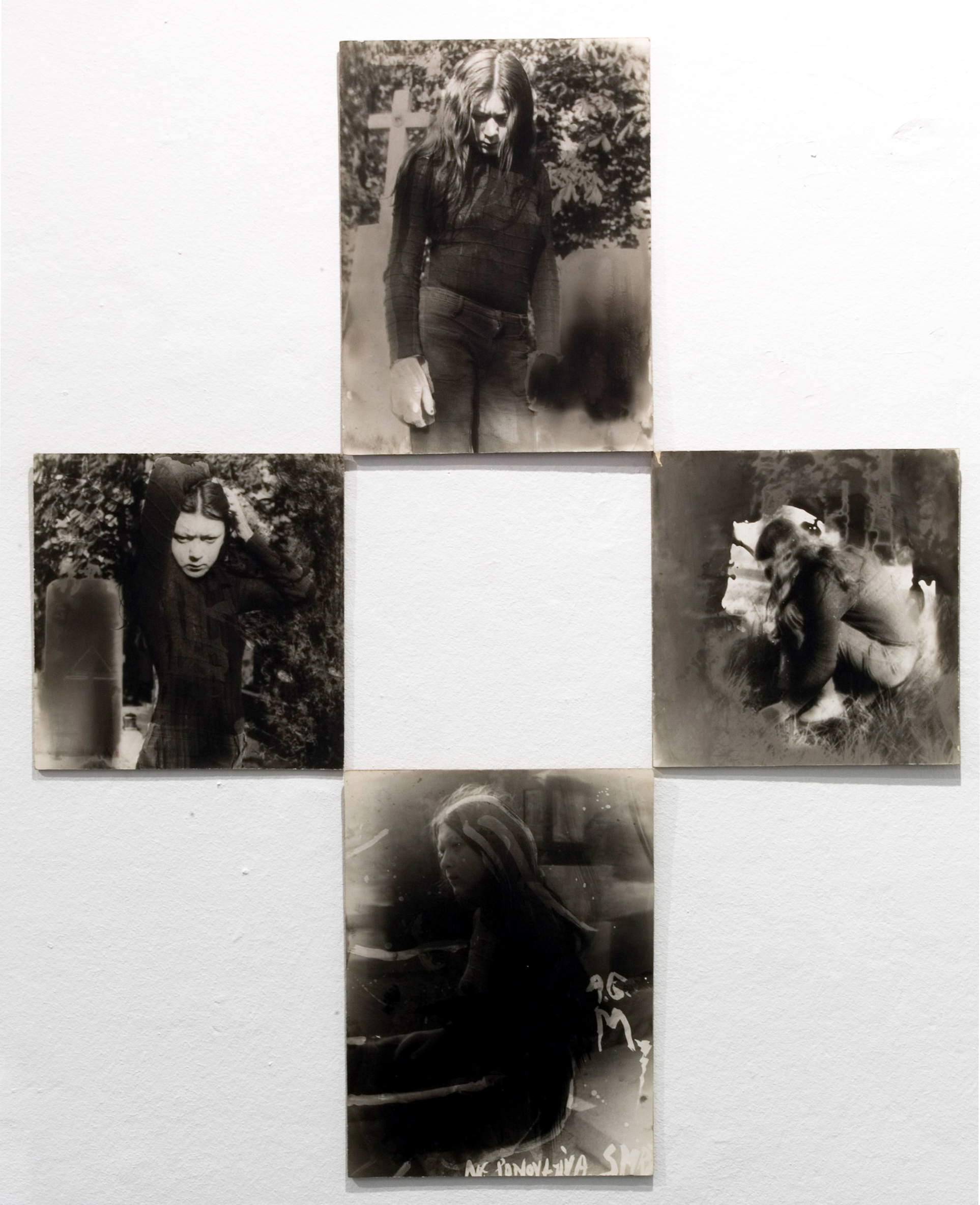 DEATH IS UNREPEATABLE (1973-1974) black and white photography, cardboard