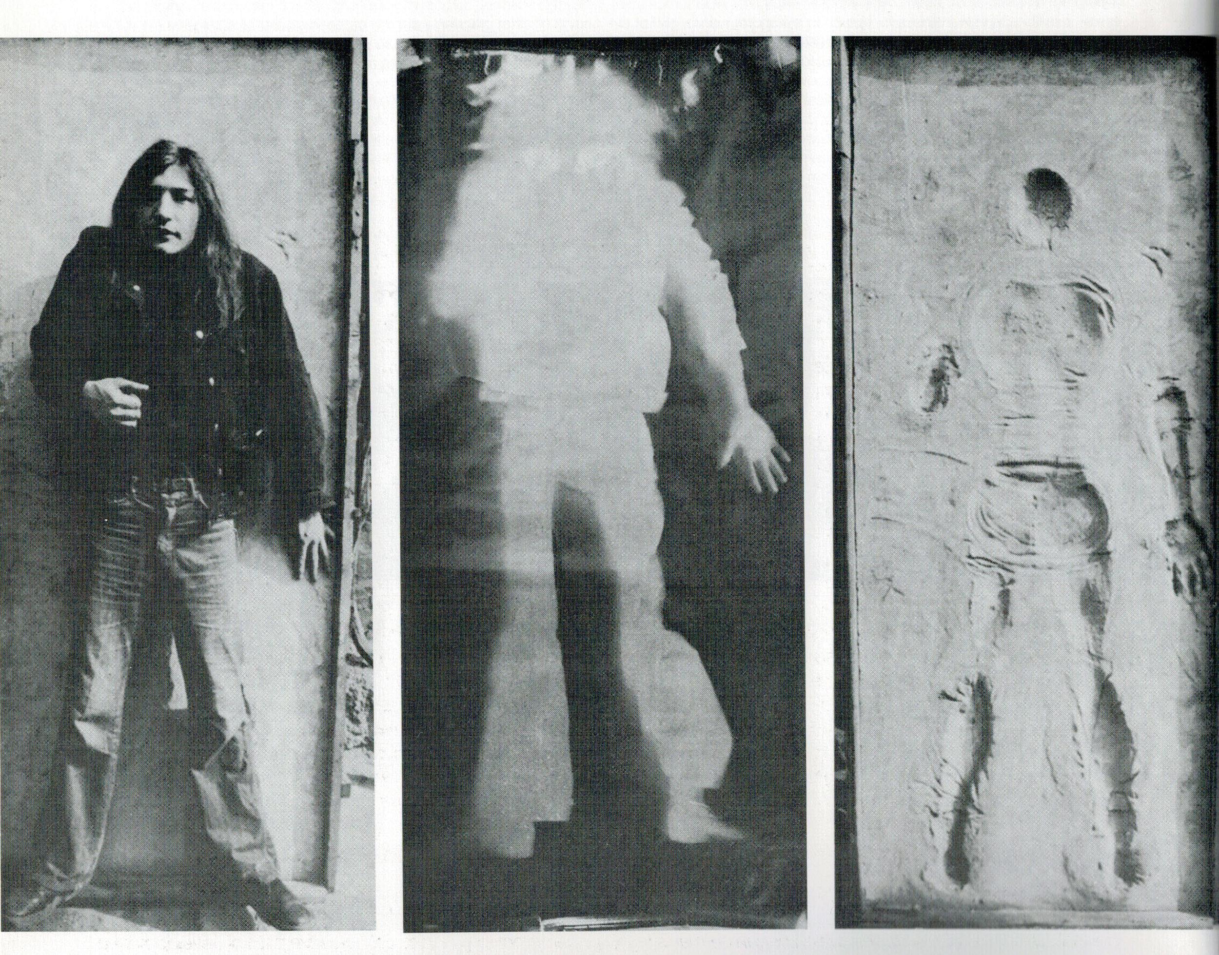 TRIPTYCH (1975-1977) black and white photograph, photogram, concrete