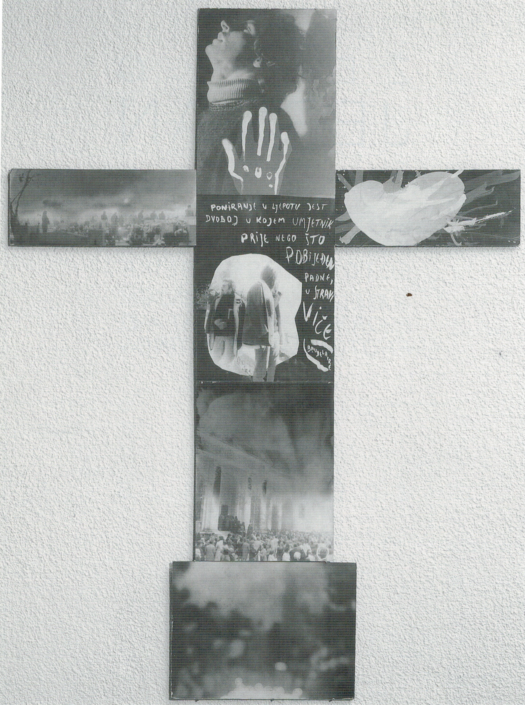 CROSS (1973) black and white photographs on hardboard, pencil