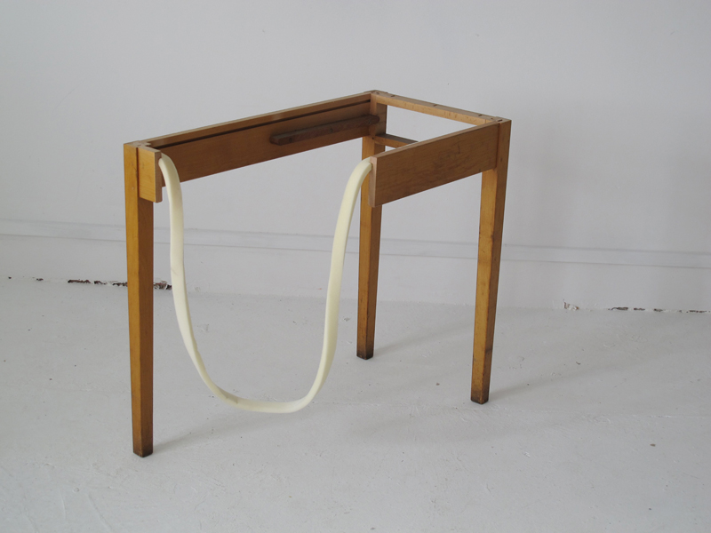 LOOP TABLE  (2012) Modified wooden table frame, foam