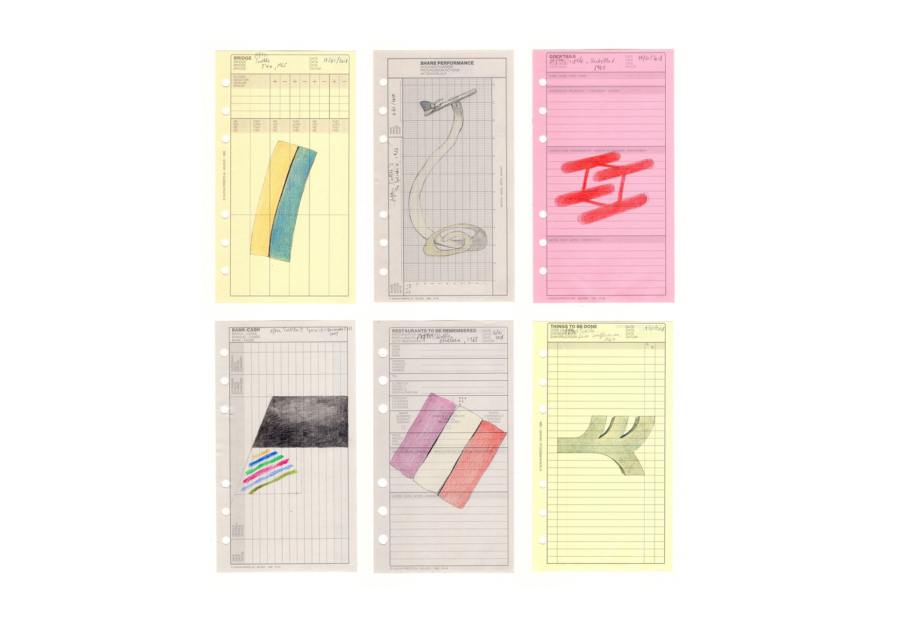 AFTER TUTTLE (2017-2018) ongoing series of colored pencil drawings on agenda pages, 17 x 9.50 cm each