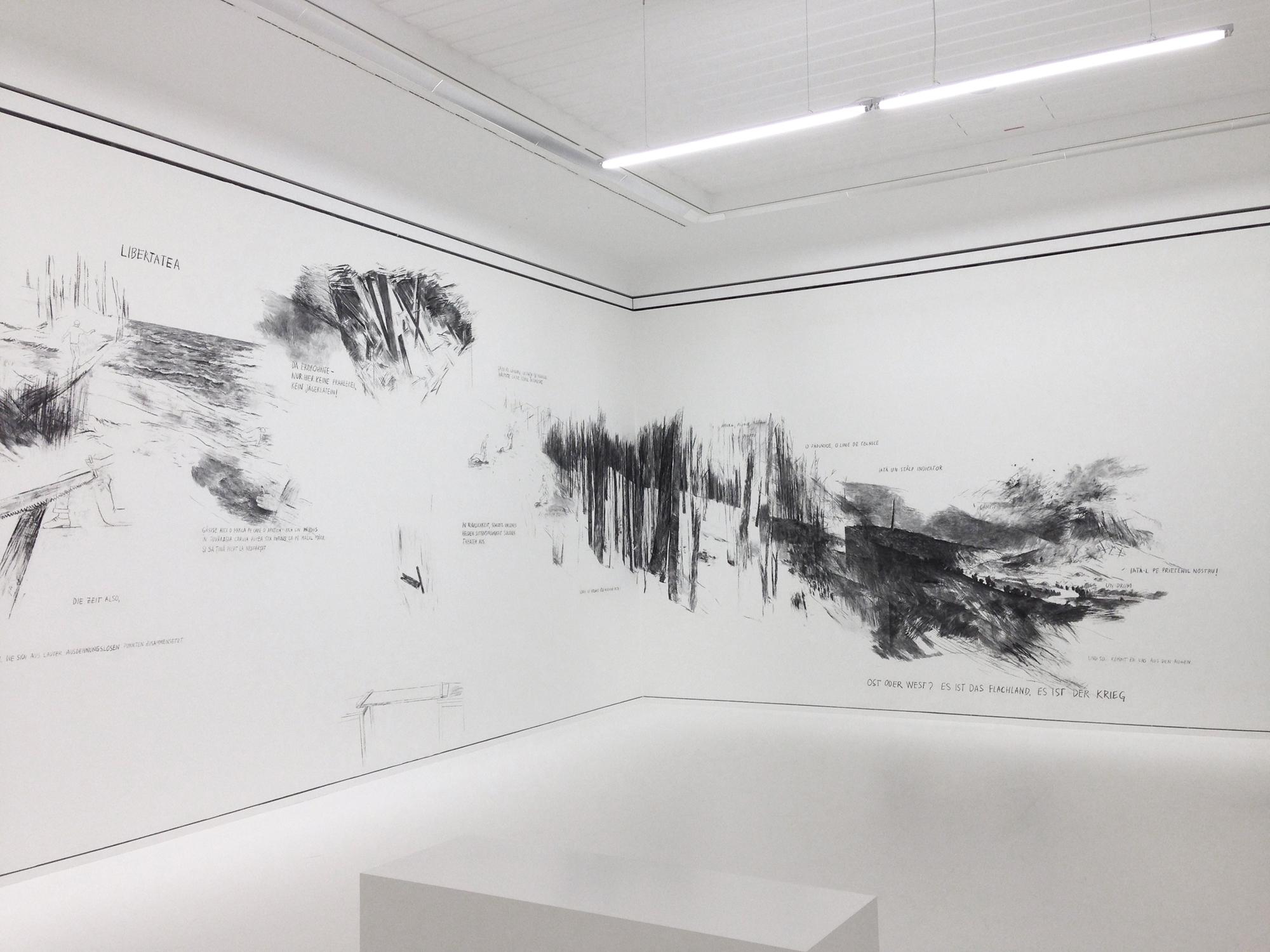 MÄNNERAKT (2014) graphite, charcoal drawing, dimensions variable, Exhibition view Leopold Museum, Vienna, Image copyright: Paul Hemetsberger