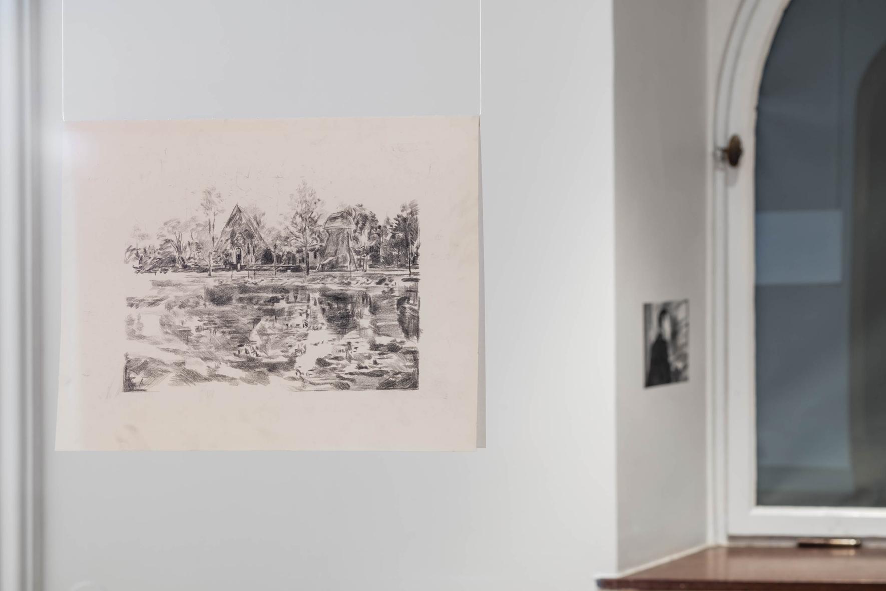 ESTABLISHING SHOT (Winter light) (2015) Pencil and carbon on paper, 36x28 cm, Exhibition view, Image copyright: Jean Baptiste Béranger, courtesy of the Romanian Cultural Institute