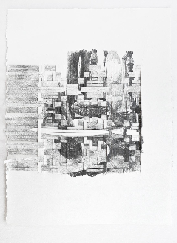 CUTS #4 (2016) pencil on paper, 37.5 x 29 cm