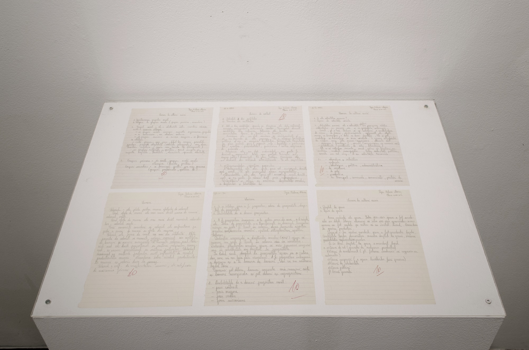 6 SCHOOL TEST PAPERS (Civic culture) (1993/2016) handwritten text on lined paper, approx. 21 x 14 cm each, Image copyright: Răzvan Anton