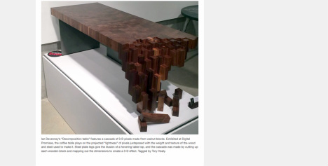 "Decomposition  table featured in Designlines' 2014 ""design week highlights""."