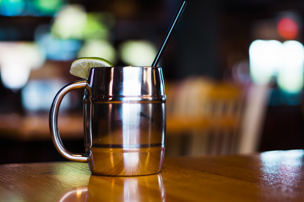 Jameson, fresh squeezed lime ginger beer, served in a copper mug.