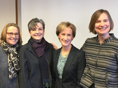 FOCUS multidisciplinary leadership, from  l.  to  r. , includes Patricia Scott,  Director of Operations , Lucy Wolf Tuton, PhD,  Director of Professional Development ; Stephanie Abbuhl, MD,  Executive Director ; and Hillary Bogner, MD, MSCE,  Director of Research Programs.