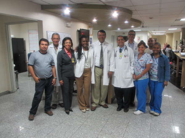 Nicolette with the physicians and medical staff with whom she worked at the National Oncology Institute in Panama City, Panama.
