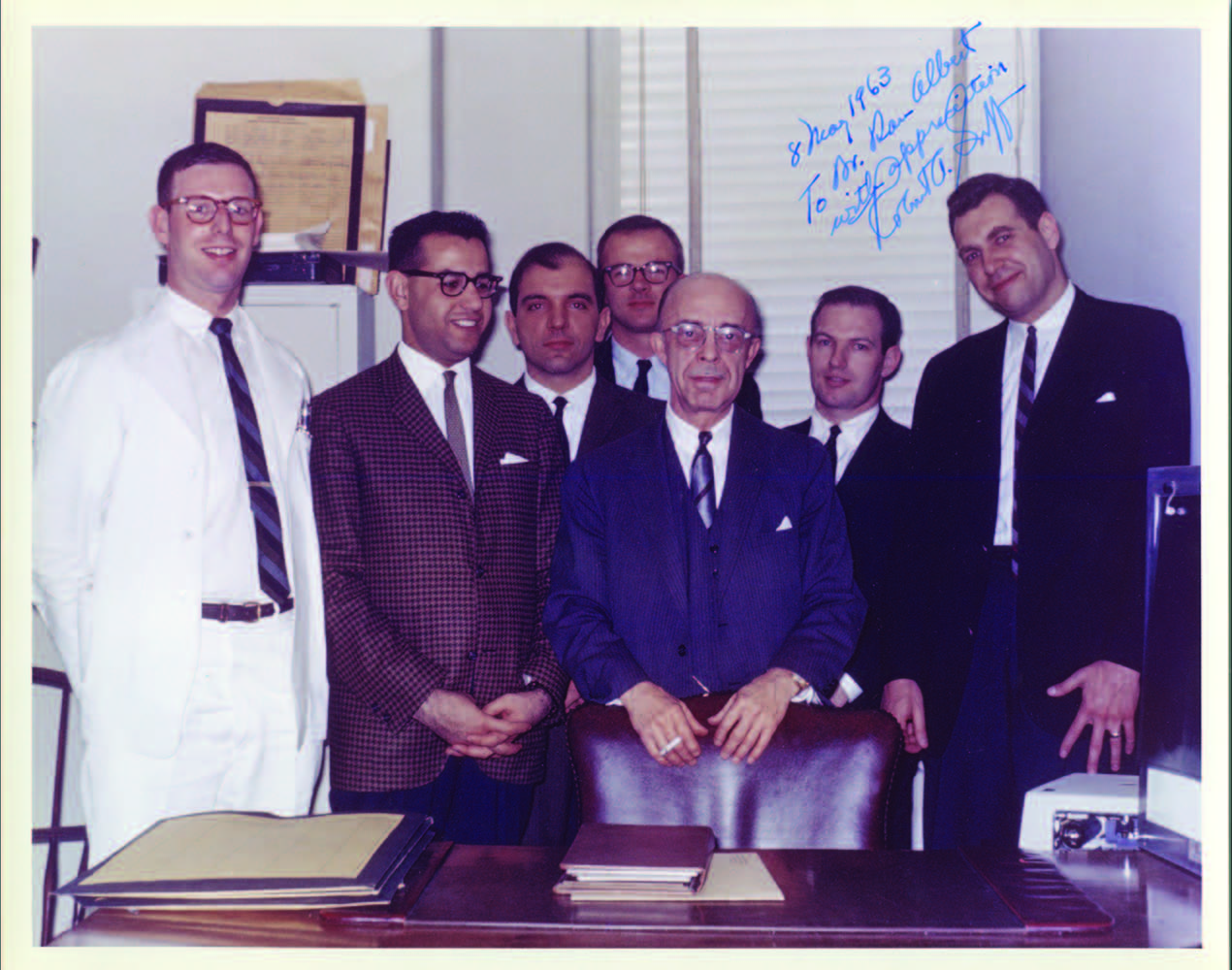 Dr. Albert, on left, in 1962 during the neurosurgery rotation of his internship, with classmates and Professor Robert A. Goff (center).