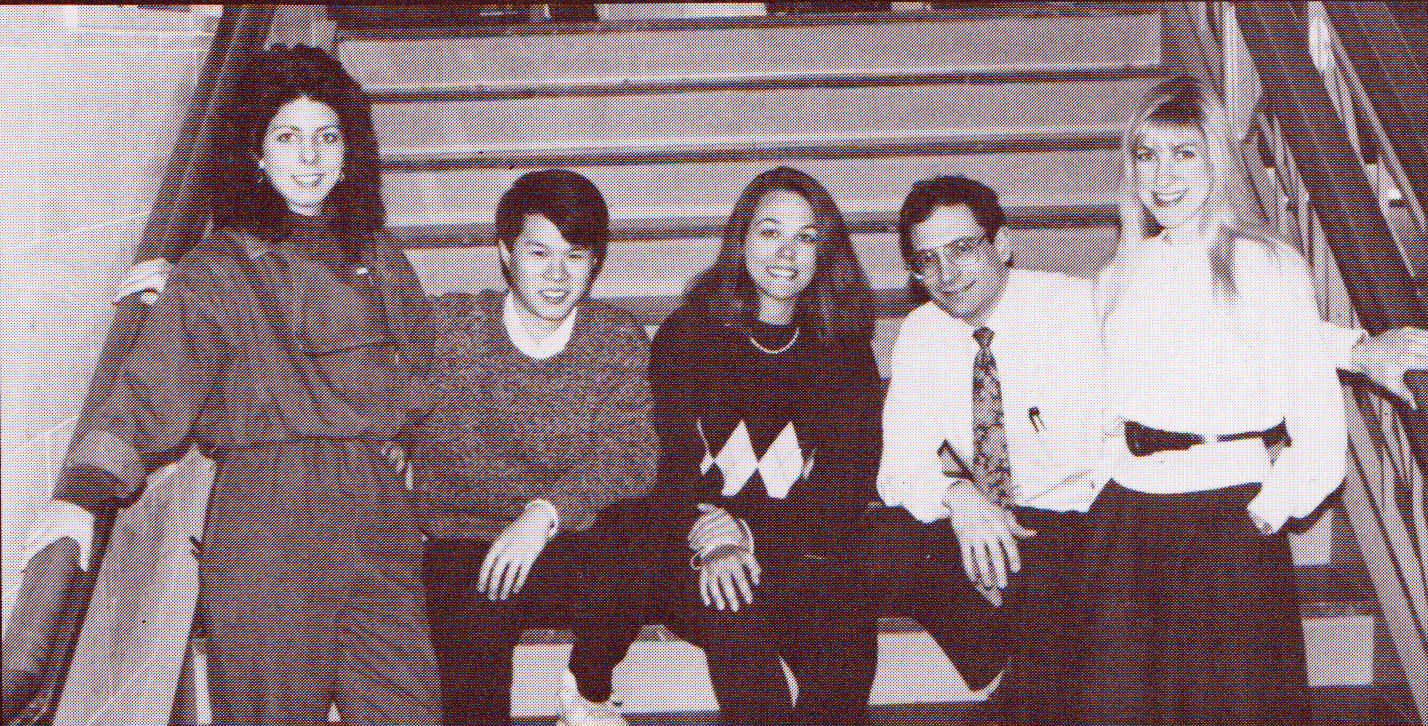 Left to right, the  Scope  1990   staff   Abby (Selig) Hornstein  ,  Colin Phoon,   Michele Miano (editor-in-chief)  , Mike Cirigliano (business manager), and Melissa (Missy) Cohen