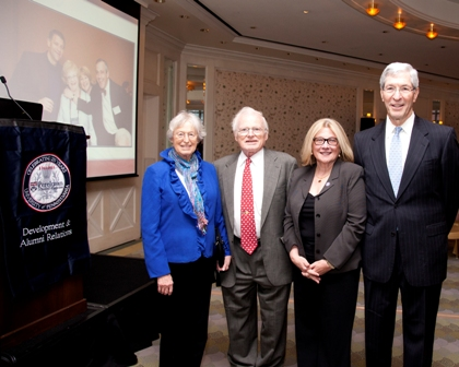 Celebrating the final 250th regional event in Boston in April were, from left to right , the Gambles, Anne and Walter, M'57; Rosemary Mazanet, GR'81, M'86; and Marc Garnick, M'72, INT'73.