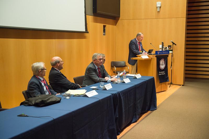 50th Reunion panelists   Kent E. Neff, M'65,Donald L. Sturtz, M'65,R. Barrett Noone, M'65, RES'71, RES'73,  William S. Hughes, M'65, GM'71 and  Panel moderator William W. Beck, Jr., M'65, INT'70  .