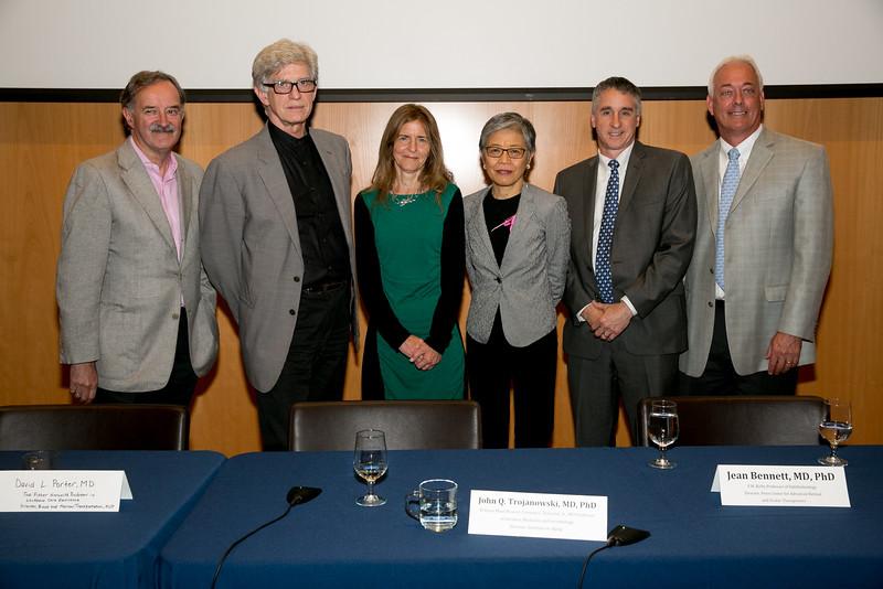 From left to right: Panelists Garret A. FitzGerald, MD, FRS, John Q. Trojanowski, MD, PhD, Jean Bennett, MD, PhD, Virginia M.Y. Lee, PhD , David L. Porter, MD, and Moderator Glen N. Gaulton, PhD