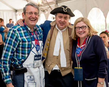 Dr. Eisen, after leading the Medical Alumni Weekend parade as School co-founder John Morgan, along with Martin Kanovsky, M'78, INT'79, RES'81, FEL'83, and Rosemary Mazanet, GR'81, M'86.