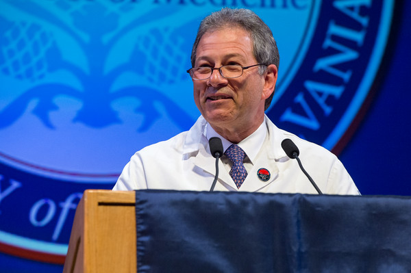 "Jack Ludmir, C'77, RES'87, Professor and Chair, Obstetrics and Gynecology at Pennsylvania Hospital and Vice Chair, Obstetrics and Gynecology at the Perelman School of Medicine, delivers the keynote address.  Emphasizing the humanity of their field, Dr. Ludmir reminded students, ""You are human. God made you on the sixth day when he was tired. Be humble."""