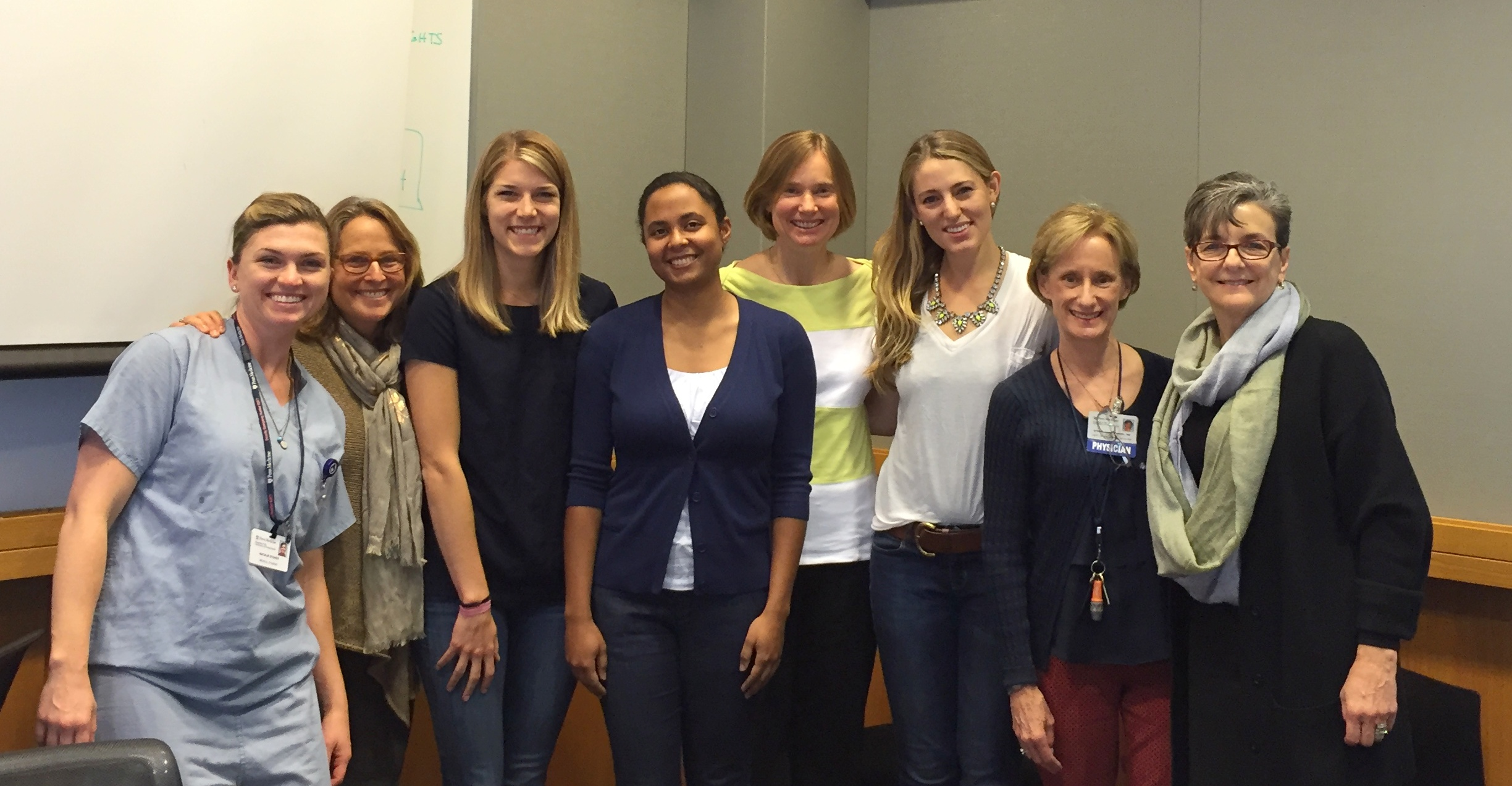 From left to right, FOCUS staff and physicians with current fellowship recipients: Natalie Stokes, M'16, Patricia Scott, Sarah Huepenbecker, M'16, Kyra Jefferson-George, M'16, Hillary Bogner, MD, MSCE, Maren Shapiro, M'16, Stephanie Abbuhl, MD, FACEP, and Lucy Tuton, PhD.