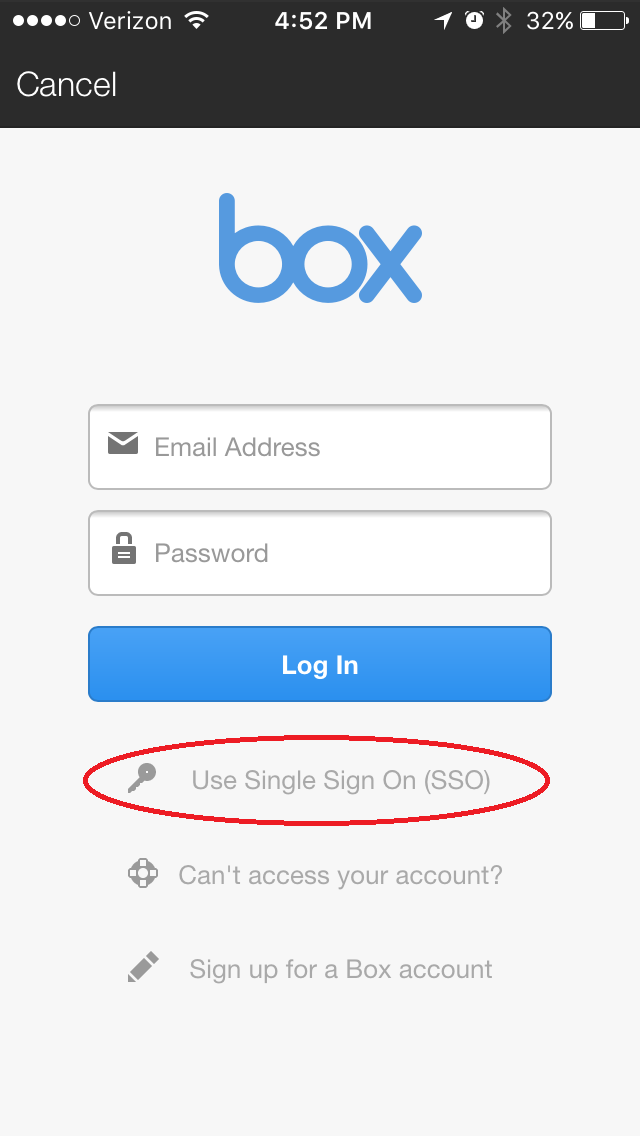 """2. Select """"Use Single Sign On (SSO)"""""""