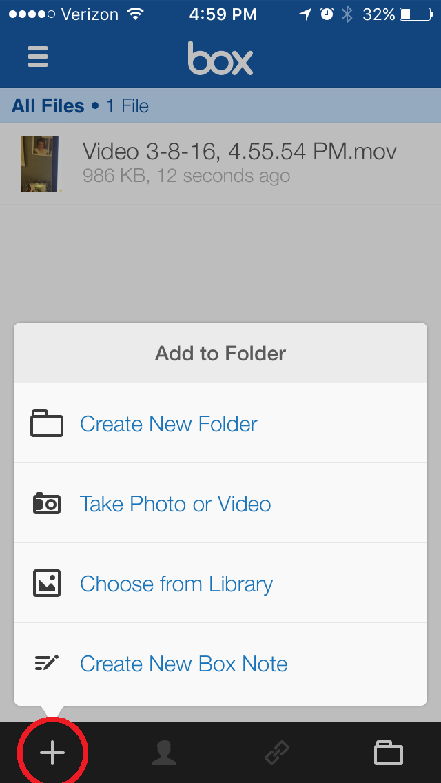 6. Click the + button and either record a video in the Box app or choose an existing one from your phone's library.