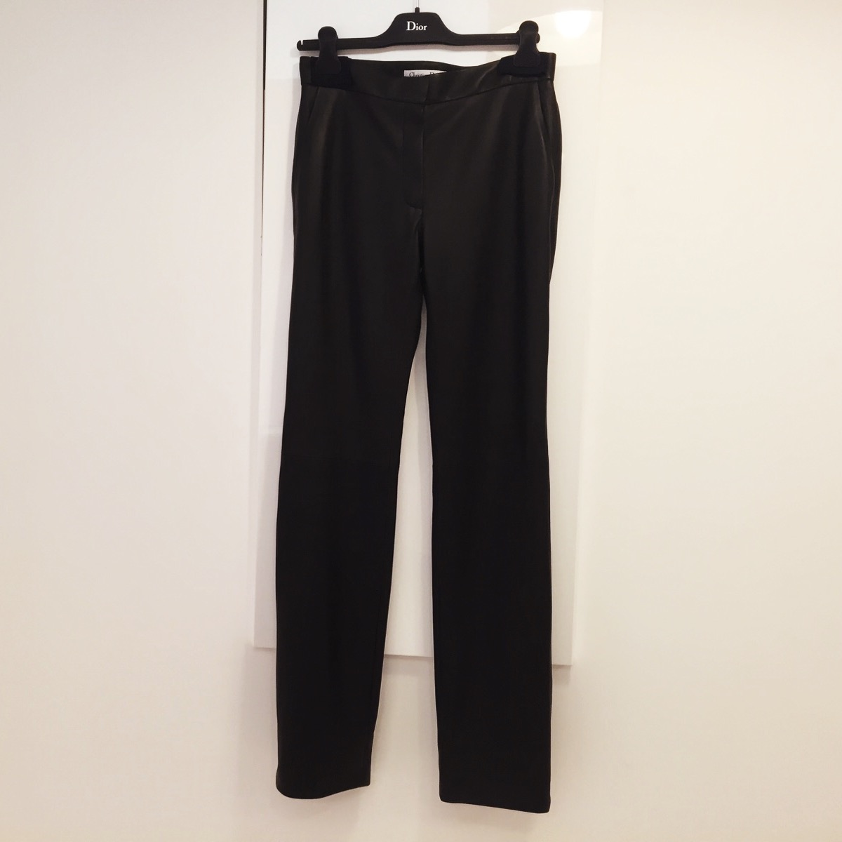 We shortened the hem on these Dior leather trousers...