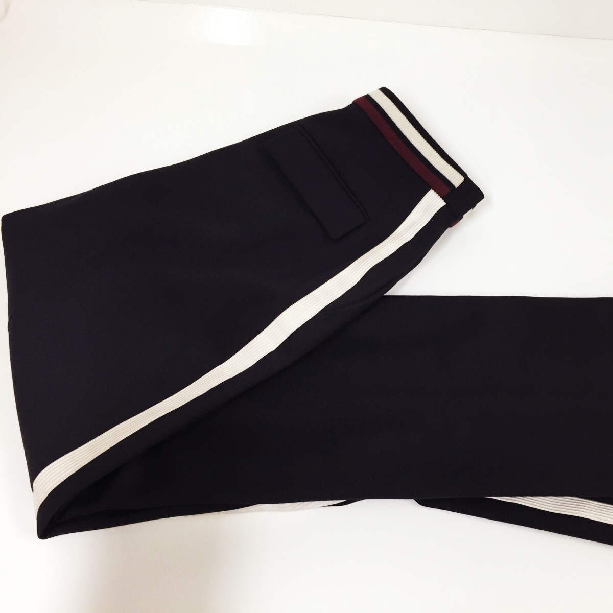 We have to take in the waistband of these Stella McCartney trousers...