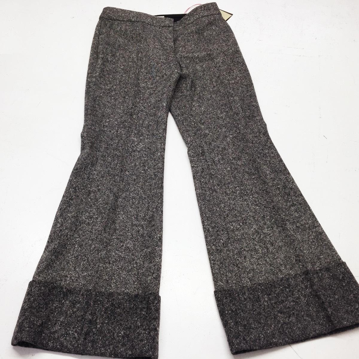 We shortened these Stella McCartney grey wide hem trousers...