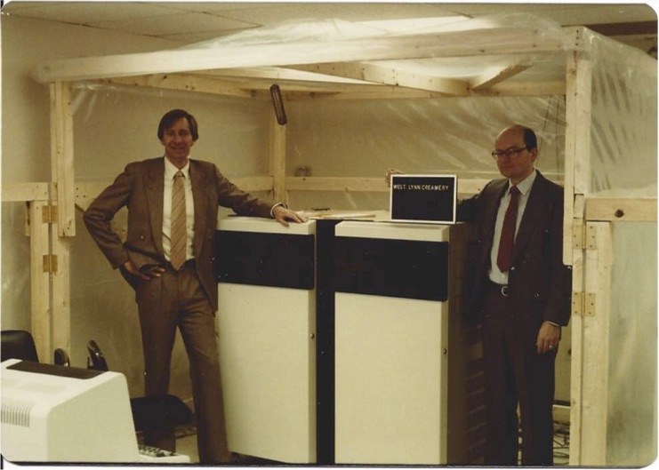 Bob and Bill with our first shipment. Gardner had just bonked his head on the burn-in oven!