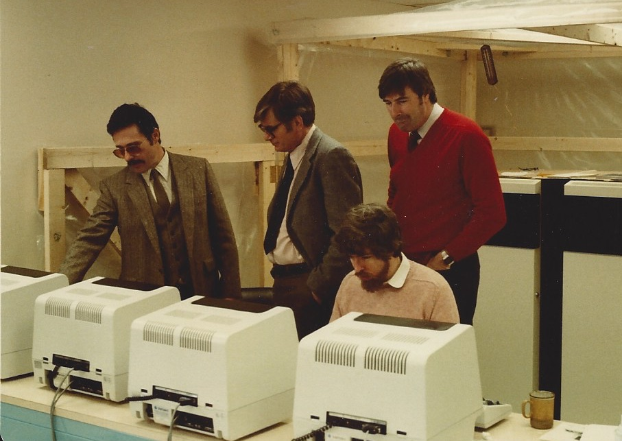Steve, Jim, Mike, and Brian with our first machine
