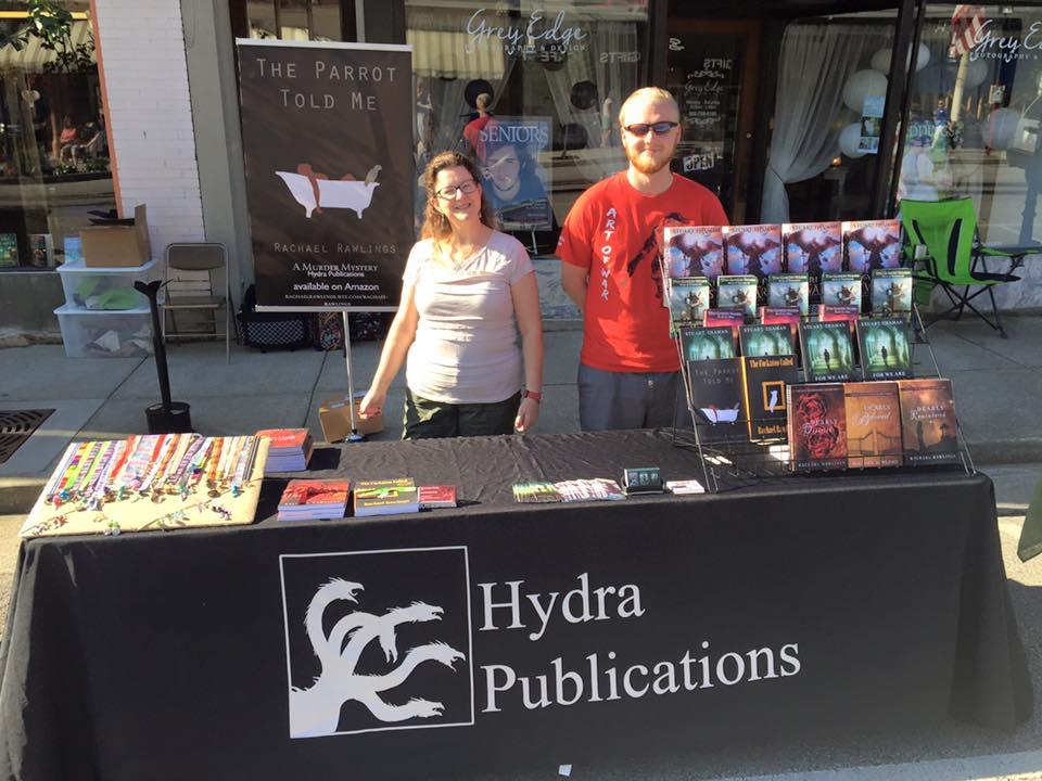 With Rachel Rawlings hanging out in front of Karen's Book Barn in La Grange, Kentucky.