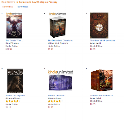 The Goblin Wars Omnibus at #1 in the paid Amazon store, collections and anthologies subsection.