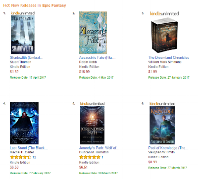 Shadowlith released (April 17, 2017) at #1 in the Hot New Releases chart in epic fantasy.