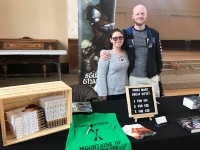 Sharing a booth with my wife, the talented author Breanna Mounce