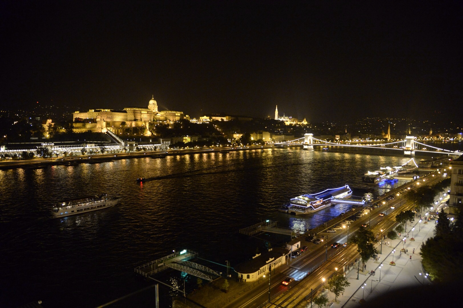 View from the Marriott concierge lounge towards of the Chain Bridge over the Danube and St Matthias (on Castle Hill on the Buda Side)